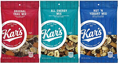 Kar's Nuts Trail Mix - Variety Flavors - Original Trail Mix, All Energy, Nut N Yogurt Unsalted - 2 ounce bags, Case of 48 bags