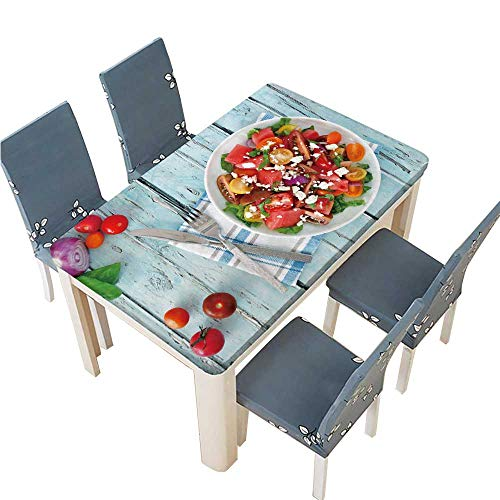 PINAFORE Spring & Summer Outdoor Tablecloth, Watermelon and Mixed Tomato Salad with feta Cheese Overhead Scene on Multicolor W33.5 x L73 INCH (Elastic ()