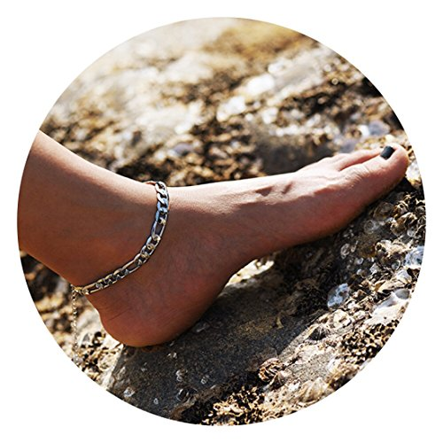 Fettero Anklet Women Handmade Dainty Summer Boho Beach Foot Chain Adjustable High Polish Concave Figaro Link Sliver