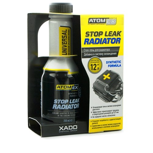 - XADO ATOMEX Stop Leak Radiator Coolant/Antifreeze Additive - Restore Radiator Parts & Prevent Future Damage (Bottle, 250 ml)