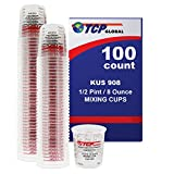 Custom Shop Brand (Full Case of 100 Each - 1/2 Pint (8oz) Paint Mixing Cups) - Cups Have Calibrated Mixing Ratios on Side of Cup BOX of 100 Cups