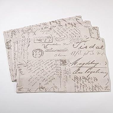 Vintage Script Print Design Placemat - Set of 4