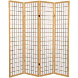 Oriental Furniture 6 ft. Tall Canvas Window Pane Room Divider - Natural - 4 Panels