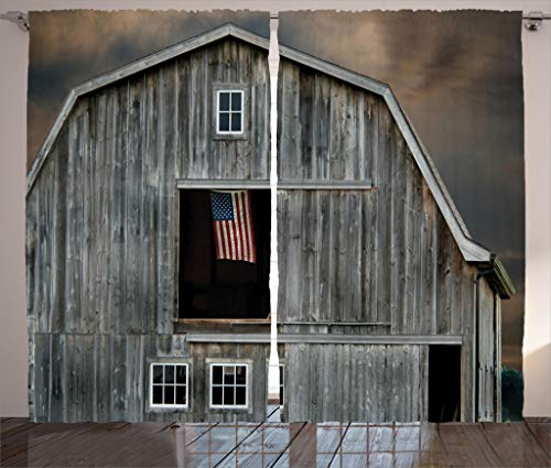 Collection Bedroom American Farmhouse - Ambesonne Farmhouse Decor Collection, American Flag Flying in a Hayloft Window Wooden Old House Dark Evening View, Living Room Bedroom Curtain 2 Panels Set, 108 X 90 Inches, Beige Dimgrey