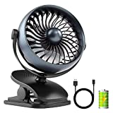 COMLIFE Rechargeable Battery Operated Clip on Desk Fan with Aroma Diffuser Function and 4 Speeds, Portable Battery or USB Powered Aroma Fan for Baby Stroller, Bedroom, Office, Car, Gym or Travel