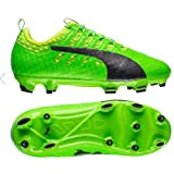 PUMA Unisex-Kids Evopower Vigor 1 Firm Ground Jr, Green Gecko-Puma Black-Safety Yellow, 3.5 M US Big Kid