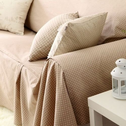 Shabby and Vintage Dots Off-white Cotton and Linen Throw Cou