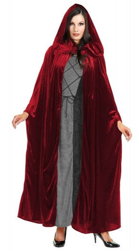 Panne Velvet Hooded Cloak Costume Accessory - One Size - Chest Size 40-44