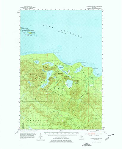 (YellowMaps Huron Mountain MI topo map, 1:62500 Scale, 15 X 15 Minute, Historical, 1954, Updated 1977, 21.9 x 18 in - Polypropylene )