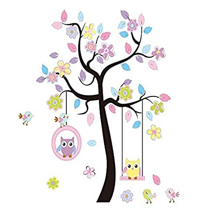 LaceDecaL Charming Art Colorful Tree Decals with Hanging Owl, DIY Wall Decor, Pink Owl Wall Sticker, Owl Wallpaper for Kids Room, Reusable Stickers
