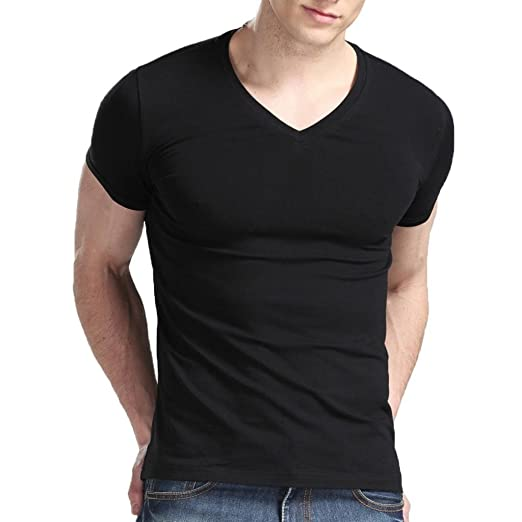 c0dd011a4 Amazon.com  XUDIAN Short Sleeves Men T-Shirt V-Neck  Clothing