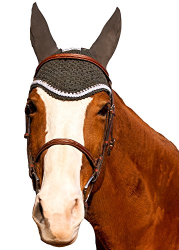 Equine Couture Fly Bonnet with Silver Rope & Crystals - Pony Color - DarkCharcoal, Size - Cob