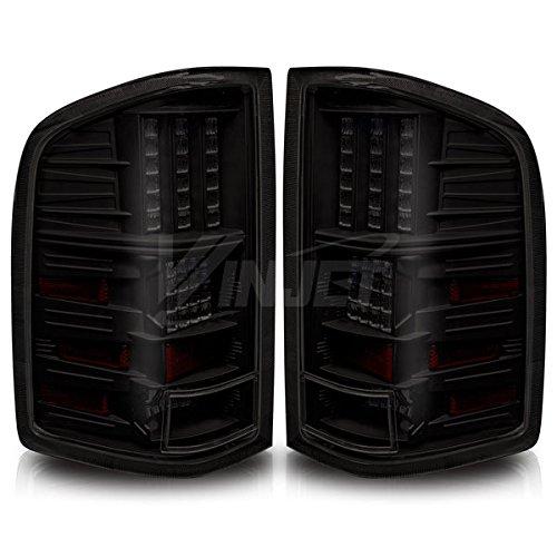 Winjet WJ20-0067-05 LED Tail Lights for 2007-2013 Chevrolet Silverado - Black/Smoke