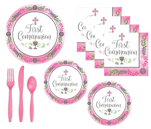 First Communion Party Supplies Girl Pink Theme With Bright Pink Accents Serves 18 Guests And Includes Extra Large Dinner or Luncheon Plates, Dessert Plates, Napkins And Premium Quality -
