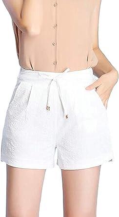 SOWTKSL - Pantalón Corto para Mujer (algodón, Cintura elástica ...