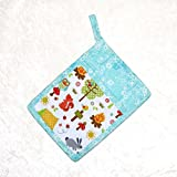 1 Pocket Pot Holder With Hanging Loop - Turquoise Pot Holder in Retro Camping and Animals Print With Toile Accent Fabric - RV Camping Decor