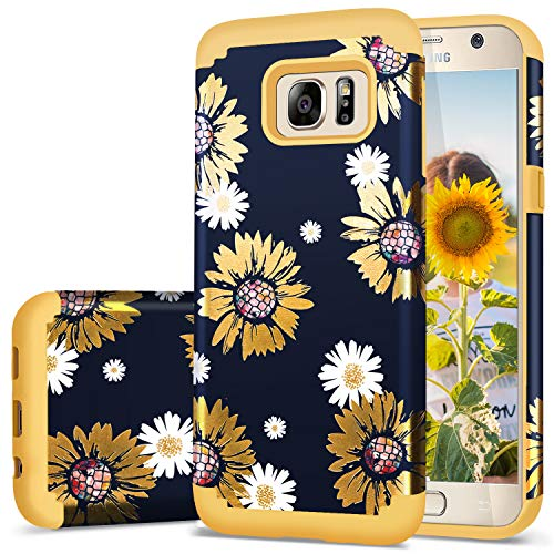 Fingic Case for Galaxy S7,Galaxy S7 Case Girl,Sunflower Slim Hybrid Case Hard PC&Soft Rubber Anti-Scratch Protective Case for Women Girls Cover for Samsung Galaxy S7(G930) ONLY,Sun-Flower/Yellow (Sun Flower Case)