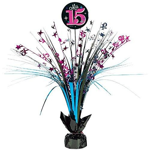 """Elegant Mis Quince Años Spray Centerpiece Birthday Party Decorations (1 Piece), Black, 18""""."""