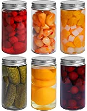 ComSaf Mason Jars with Airtight Metal Regular Lids(16oz/500ml), Sealed Clear Glass Canning Jars with Wide Mouth for Spices, Honey, Pickle, Ideal for Wedding Favors, Baby Shower Favors, Set of 6