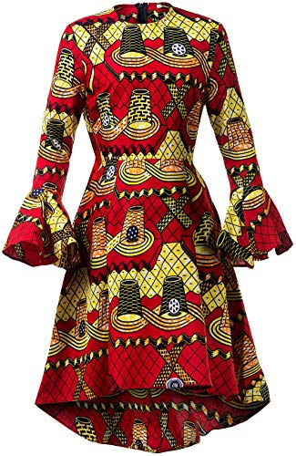- Shenbolen Women African Print Dresses Autumn and Winter Long Sleeves Ankara Dress(Small,Multicolored)