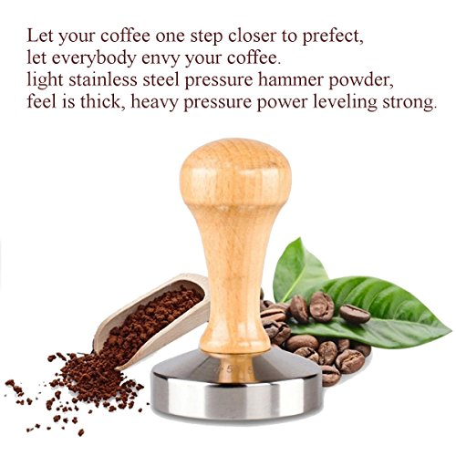 Godmorn Espresso Coffee Tamper Barista Stainless Steel Base Solid Heavy Duty Coffee Bean Press with Wooden Handle 57.5mm