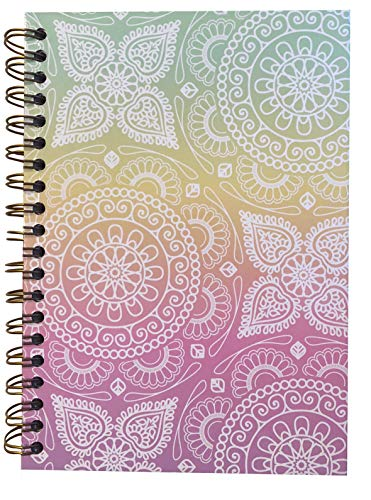 (Small Spiral Wire Bound Hardback Notebook, 5 X 7, 80 sheets/ 160 Pages, Wide Ruled, Use as a Diary, Journal, for Ideas, Abstract Multi-Color Mandalas)