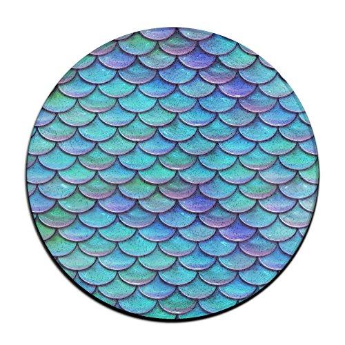 Feimao Stacked Inlaid Fish Scales Anti-slip Round Doormats Indoor/Outdoor Absorbent Circular Carpet Round Entryway Rug Floor Mats Welcome Mat Living Room Rug