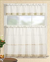Fancy Collection 3pc Beige with Embroidered Kitchen/Cafe Curtain Tier and Swag Set
