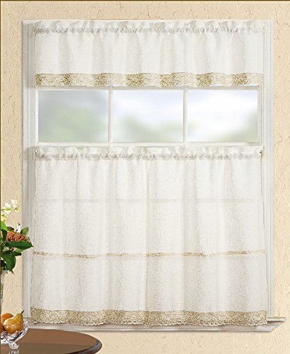 Fancy Collection 3pc Beige Decoration Kitchen/cafe Curtain Tier and Swag Set