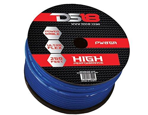 DS18 PW-8GA-250BL-2pk 250-Feet 8-Gauge Ultra Flex Power Cable (Blue), Set of 2