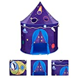TANGON Kids Play Tent, Castle Play Tent Rocket Ship Playhouse tent Creative Play for kids Idoor/Outdoor 40inch(D) x 51inch(H) (Rocket)
