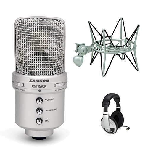 G-track Usb Mic (Samson G-Track USB Condenser Microphone with Audio Interface with Shockmount and Stereo Headphones)
