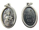 Made in Italy Catholic Keepsake Gift Silver Tone 1 Inch Saint St Teresa of Avila Pray for Us Medal Charm Pendant