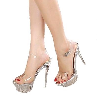b135bf8d0c956 Amazon.com | pophight New Lady Crystal high Heels Star high ...