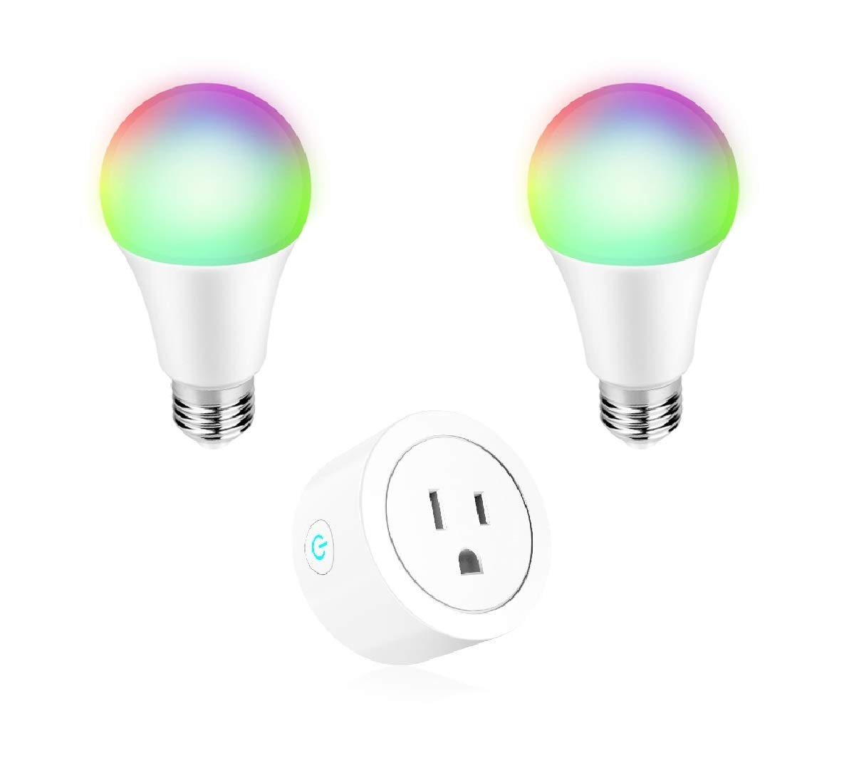 Smart Home Kit Mini WiFi Smart Plug and 2 A19 Smart Bulbs 60W Equivalent 16W RGB LED Light Dimmable Compatible with Alexa Google Home IFTTT Puji
