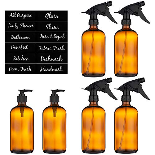 Amber Glass Spray Bottle and Pump – Set of 6 16 Ounce Size Refillable Empty Brown Boston Bottles for Essential Oils Homemade Cleaner Solutions Mist and Stream Sprayer Nozzle Reliable Trigger
