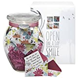 KindNotes Glass INSPIRATIONAL Keepsake Gift Jar of Messages for Him or Her Birthday, Thank you, Anniversary, Just Because - Refreshing Floral