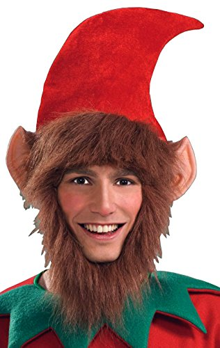 [Forum Novelties Men's Costume Elf Hat with Ears Hair and Beard, Multi, One Size] (Crazy Christmas Hats)