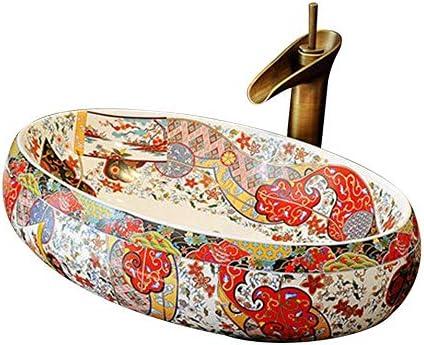 カウンタートップの洗面器の流しの楕円形のセラミック洗面器、カウンタートップの洗面器のシンク、60X40X15 cm(蛇口は含まれていません)