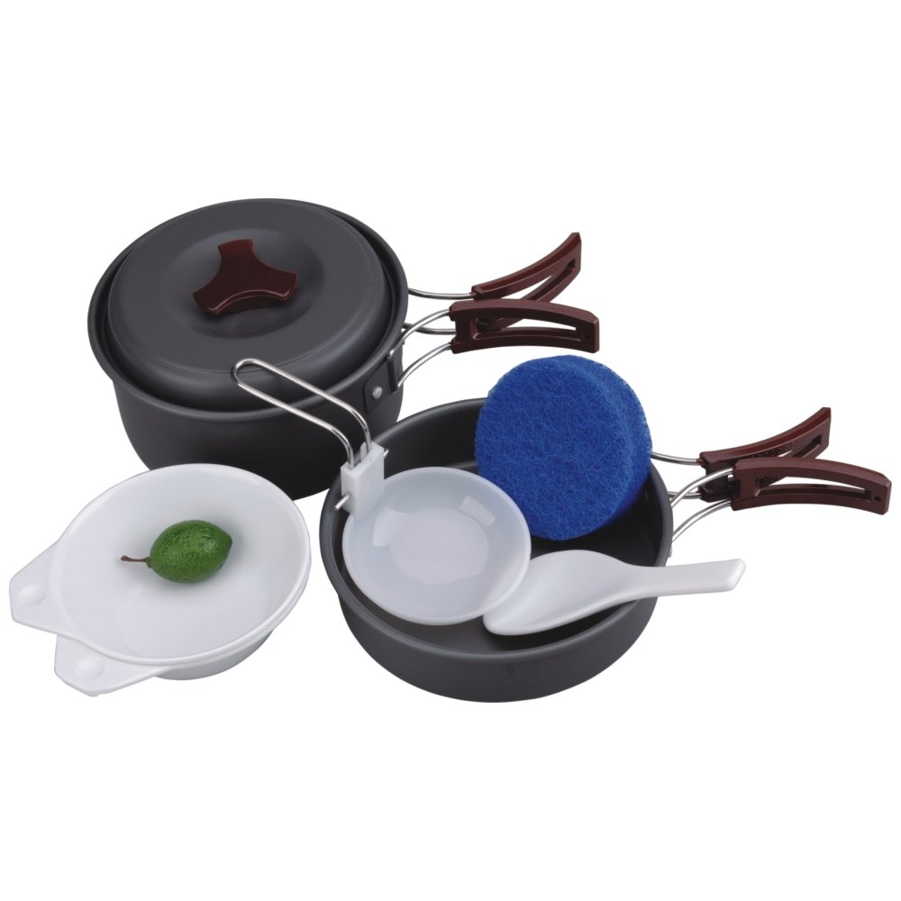 AceCamp Hard-Anodized Portable Camping Cookware Set, Stackable Nonstick Aluminum Cooking Mess Kit, Lightweight Family Pots, Pans, Cups, Bowls & More with Mesh Carrying Bag (Small - 1-2 Person Set) by AceCamp