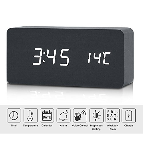Niceeco LED Digital Wooden Alarm Clock Touch Sound Sensor Voice Contorl Nightlight Large Display Temperature Calendar Mains Powered USB/AAA Battery Modern Clock for Home Office(balck-white)