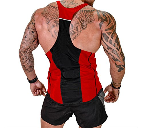 Sports Sleeveless Vest Top - ICOOLTECH Men's Fitness Gym Muscle Cut Stringer Bodybuilding Workout Sleeveless Tank Top Shirts (US - X-Large, Z Red (No Words))