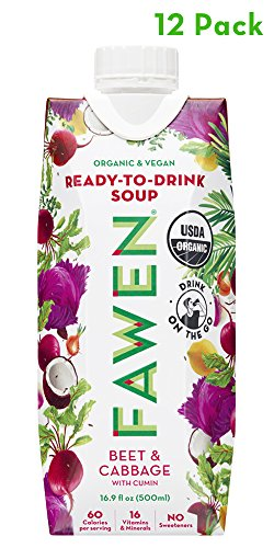 Ready to Drink Organic Vegan Superfood Soup Beet & Cabbage with Cumin – Light Meal or Healthy Snack (12 pack) For Sale