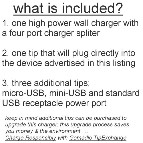 Quad 4-port wall charger with included tip for the Epson P-3000 Multimedia Photo Viewer a compact design with flip out prongs - Uses TipExchange Technology to charge up to four devices simultaneously by Gomadic (Image #2)