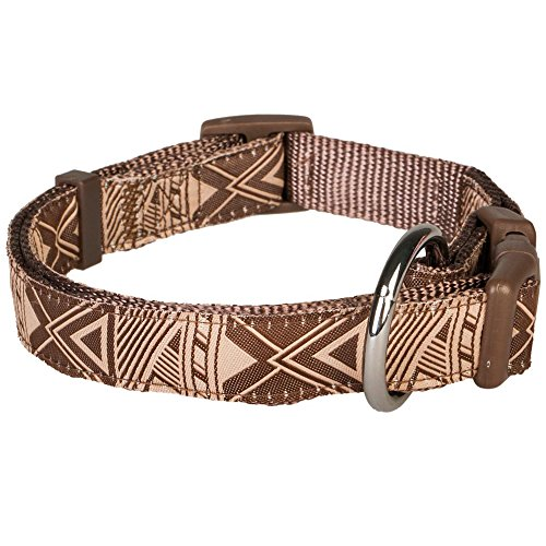 """Blueberry Pet Mysterious African Geographical Pattern Dog Collar in Brown, Neck 12""""-16"""", Small, Collars for Dogs"""