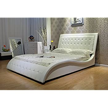 Greatime B1136-2 Eastern King White Wave Shape Upholstered Bed with Euro Curved Slats