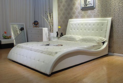 Greatime B1136-2 Eastern King White Wave Shape Upholstered Bed with Euro Curved Slats ()