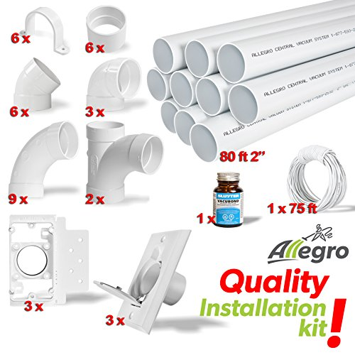 Central Vacuum 3-Inlet Installation Kit & 80 feet of Pipe All in a Box (Vacuum Pvc Pipe)