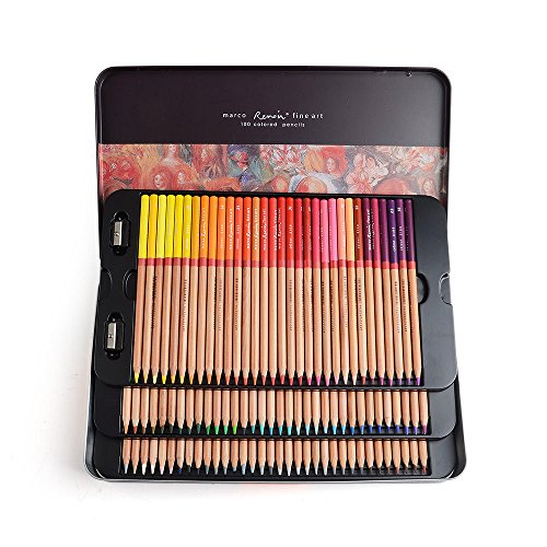 Marco Renoir Fine Art 100 Colors Colored Pencil Oil Base Non-toxic Pencils+ Gift by Marco