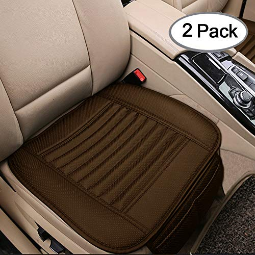 Big Ant Car Seat Cushion, 2PC Breathable Car Interior Seat Cover Cushion Pad Mat for Auto Supplies Office Chair with PU Leather (Tan)